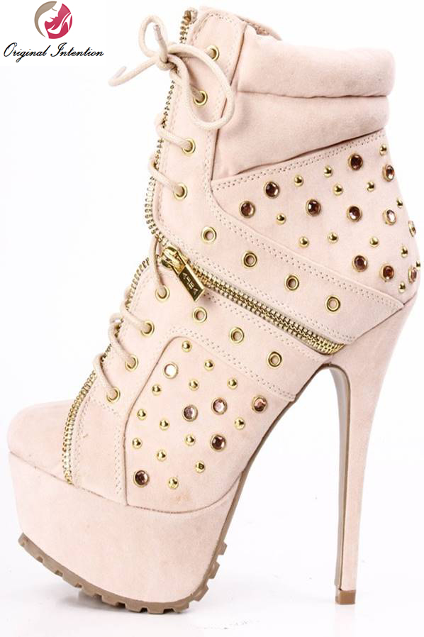 Original Intention Popular Women Ankle Boots Elegant Round Toe Thin Heels Boots Black Light Pink Shoes Woman Plus Size 4-15