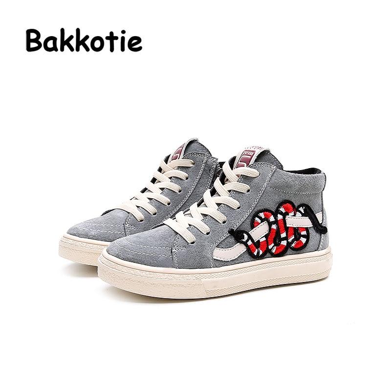 Bakkotie 2017 Autumn Baby Boy Casual Child Girl Leisure Sneaker Genuine Leather High Top Trainer Kid Brand Shoe Snake Toddler
