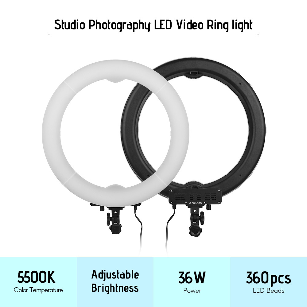 Andoer 19in 36W LED Lamp Ring selfie Video Light photo Photography Studio Fill in Light LED Beads 5500K Adjustable Brightness-in Photographic Lighting from Consumer Electronics    3