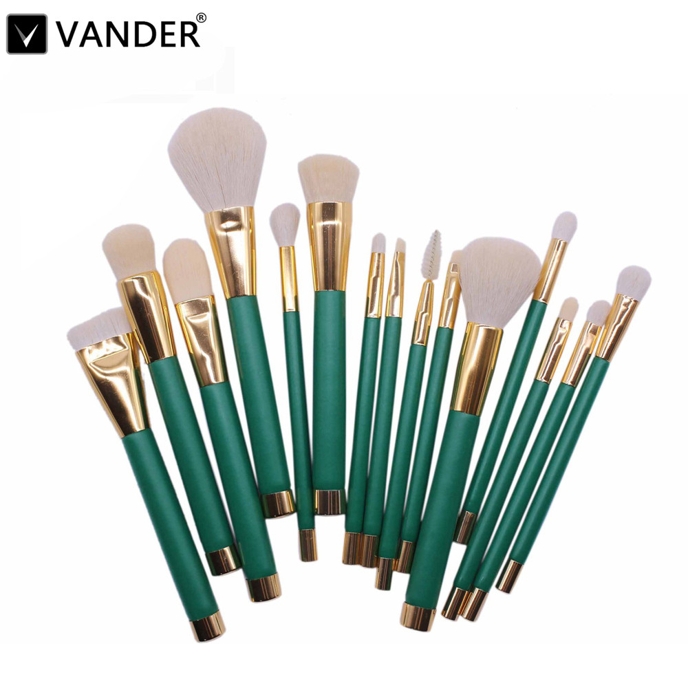 Vander 15pcs Green Makeup Brushes Set Make Up Brush Tools Cosmetic Professional Foundation Brush Kits Blending Pencil Kabuki professional bullet style cosmetic make up foundation soft brush golden white