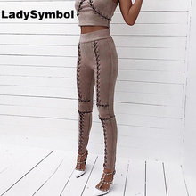 Фотография LadySymbol Winter Sexy Lace Up Faux Suede Stretch Bodycon Women Pencil Pants Blue Hollow Autumn Casual High Waist Trousers Women