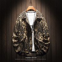 Leopard Jacket Men Spring Autumn Fashion Loose Imitation Fur Lambs Velvet Hip Hop Clothes Turn down Collar Streetwear Men