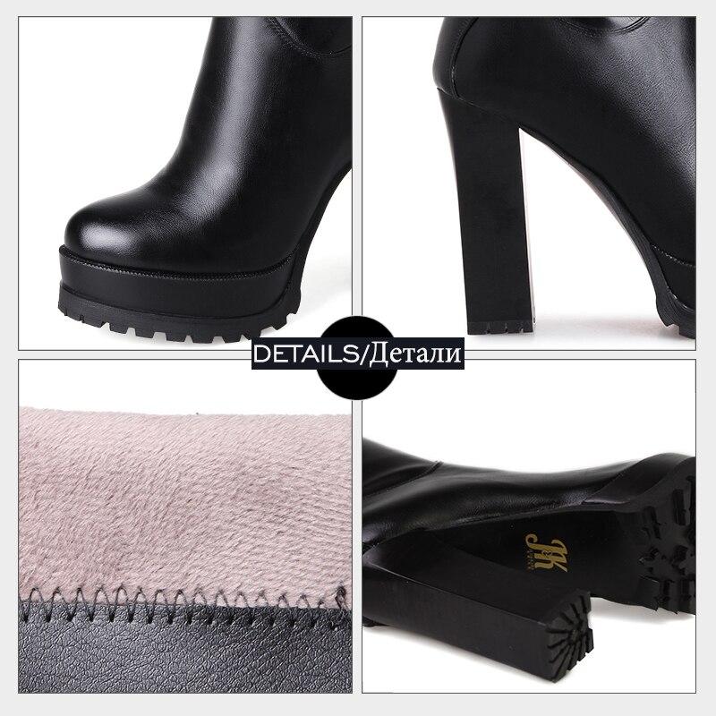 Negro La Zapatos Sobre 43 Botas rojo 2018 De Correa Hebilla Super Zip Tacones Primavera Remache Nuevo Tamaño Plataforma Mujer 33 Rodilla Jk Grande c8w7gYq481