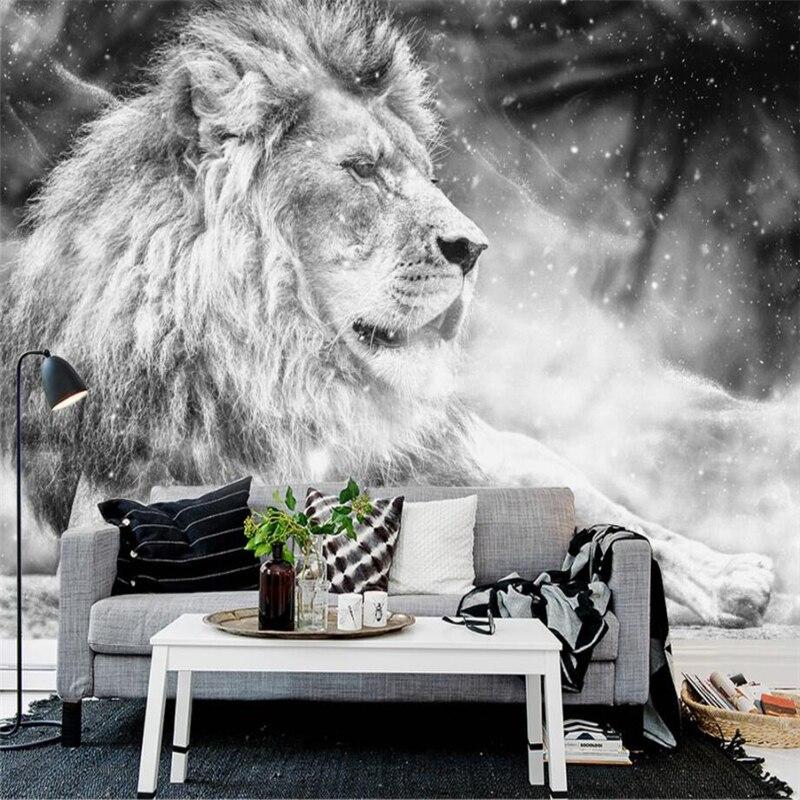 Купить с кэшбэком Custom Wallpaper Mural Black White Wind Lion King TV Backdrop Modern Simple Background Wall Murals photo 3d wallpaper Beibehang