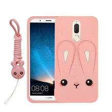 For Huawei Mate 10 Lite Case For Huawei Nova 2i Case 3d cartoon rabbit with strap soft Silicone Cover For Huawei honor 9i goowiiz черный maimang 6 mate 10 lite honor 9i nova 2i