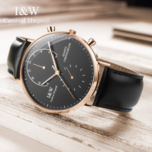 2017 CARNIVAL I&W UltraThin 6mm Dual Time Quartz Men Watch TopBrand Luxury Sapphire Crystal Simple Fashion Waterproof Montre