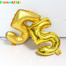 Wholesale 50pcs/lot 16inch gold/silver/blue/pink number foil balloons air filled ballons for baby birthday party supplies globos