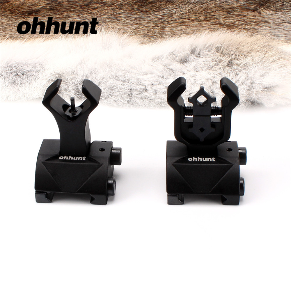 Ohhunt Model 4 AR 15 Tactical Flip Up Front Rear Sight Sights Set Iron Diamond Apertures Dual Windage Adjustment