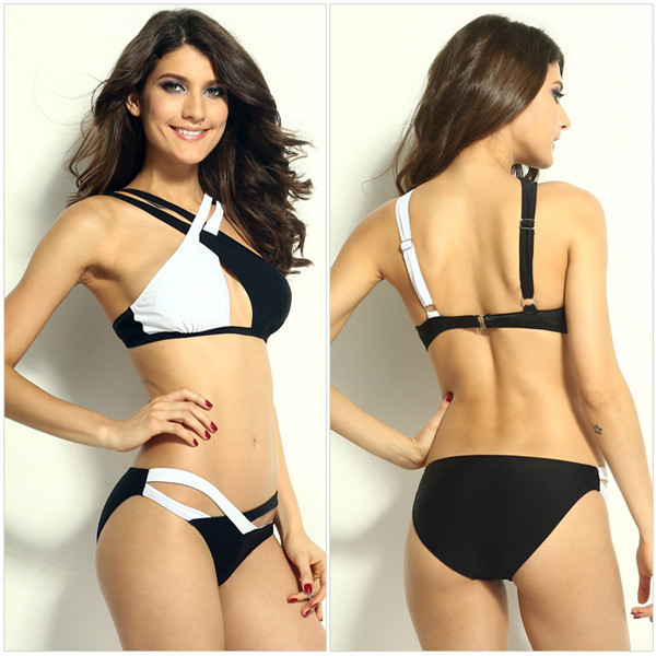 72a8fe66666c0 2015 new fashionsex bikini bandage hot swimsuit black with white sexy cool  bandage bikinis with free shipping ב-2015 new fashionsex bikini bandage hot  ...