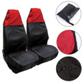 2 Black Red Universal Front Car Van Seat Protector Covers Water Resistant