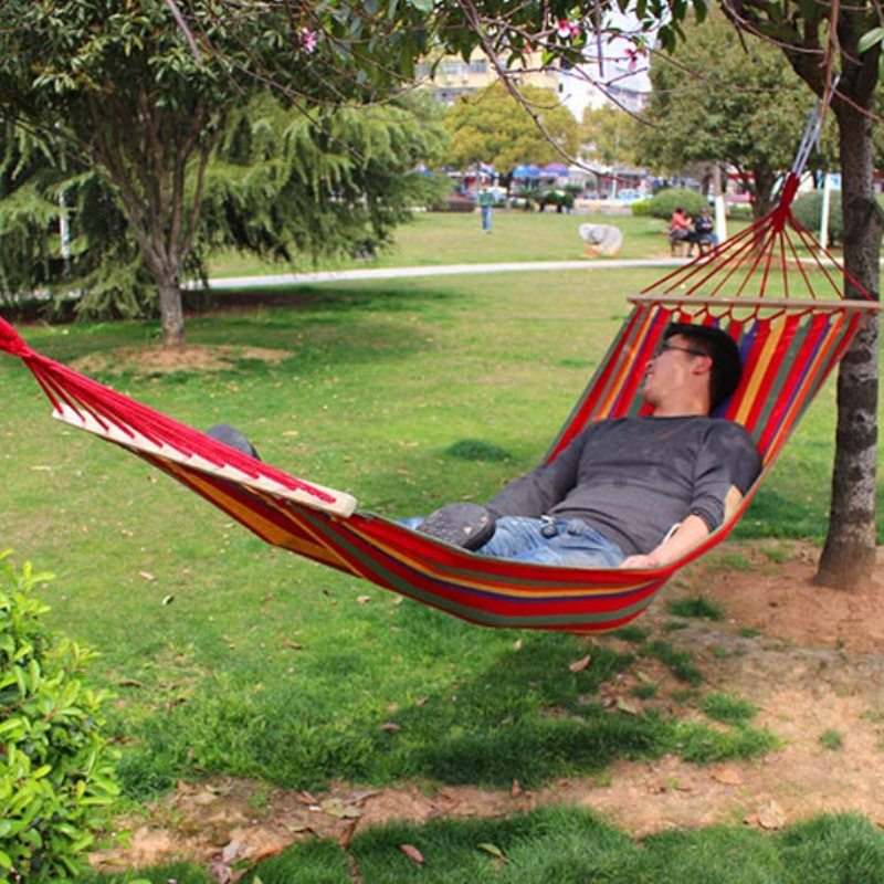 2 styles Canvas Hammock Double Spreader Bar Outdoor Camping Hammocks Garden Hanging Bed Hammock 120/150kg Large Weight Capacity furniture size hanging sleeping bed parachute nylon fabric outdoor camping hammocks double person portable hammock swing bed