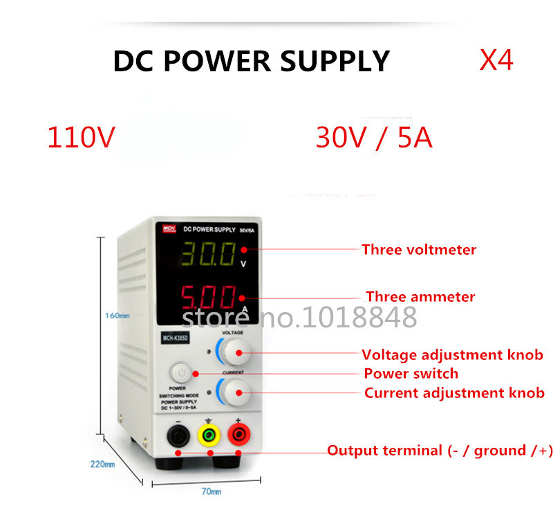 4pcs/Lot 110v MCH-K305D Mini Switching Regulated Adjustable DC Power Supply SMPS Single Channel 30V 5A Variable MCH K305D mch 305dii 30v 5a adjustable dc power supply multi function digital display power supply