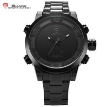 Digital gulper shark sport moda doble movimiento led calendario alarma de reloj resistente al agua de cuarzo de los hombres relojes militares/sh364