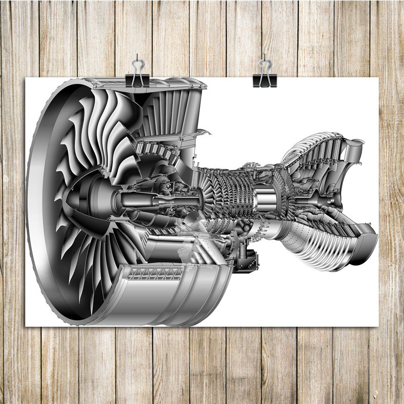 Free Ship Vintage Print Poster Engine Structure Diagram Kraft Paper Wall Pictures For Living Room Home Decor 42x30cm