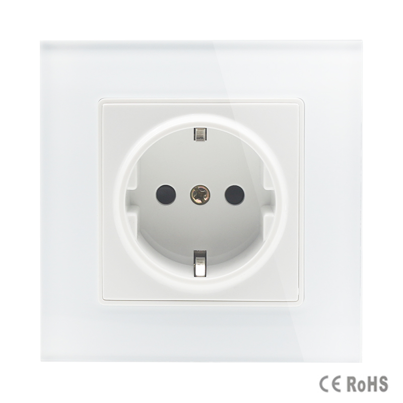 2017 Free Shipping EU Standard Power Socket, AC 110~250V 16A Wall Power Socket, white Color tempered Crystal Glass Panel
