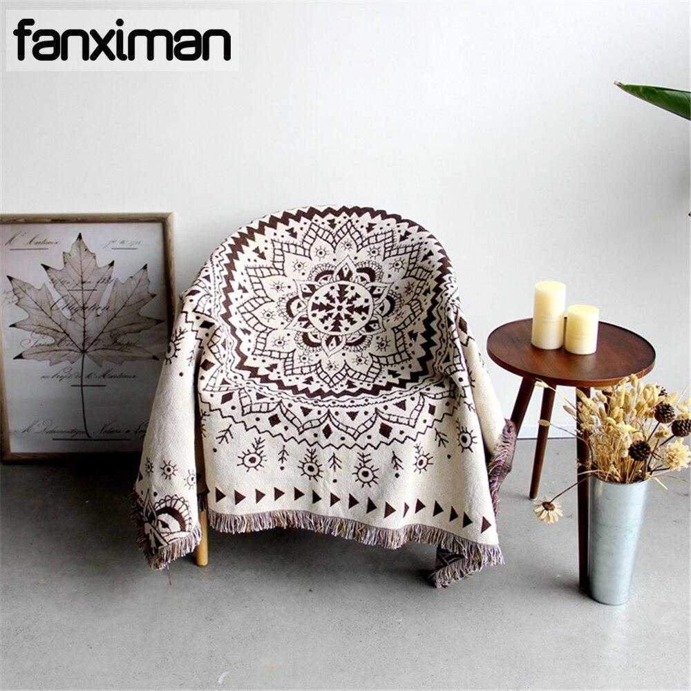 Couverture de serviette de canapé d'été de Style Pastoral américain pour canapé à tricoter Mandala tapisserie multi-fonction couvertures tapis