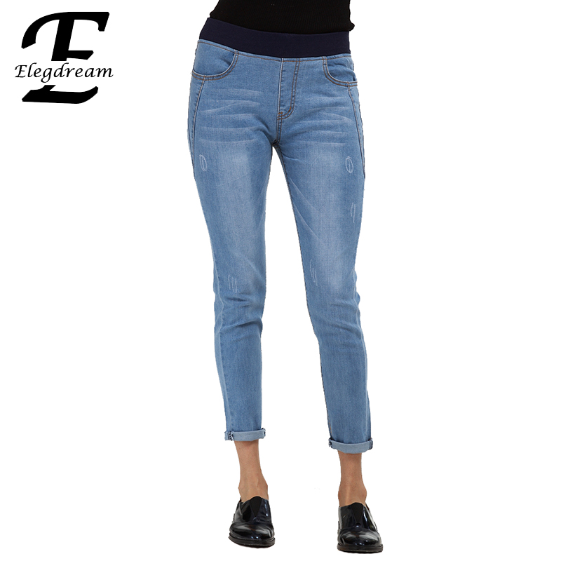 Elegdream Women Mid Waist Denim Jeans Vintage Slim Pencil Pants Fashion Ladies Denim Trousers Calf Length Capris Plus Size S 4XL high quality screwdriver combination set unique telescopic function
