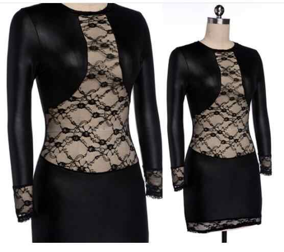 Lady Imitate Leather dress mini dress Women sexy Lace dress slim fitted night bar Club dresses black red Hot catsuit new
