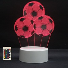 3D LED Night Lights Football 7 Colors Change Touch Switch Hologram Atmosphere Novelty Lamp for Home Decor Visual Illusion Gift цена
