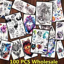 FANRUI 100 шт. оптовая продажа флэш поддельные татуировки временные лиса Тигр живопись тату стикер для мужчин и женщин на руку ноги 3D тату Поставка