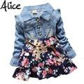 Girls Polka Dot cartoon princess dress Denim floral dress summer dresses Lace Flowers Long Sleeve Kids Free Shipping