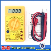 WHDZ DT 830D Mini Digital Multimeter with Buzzer Overload protection Voltage Ampere Ohm Meter Test Probe DC AC LCD Yellow