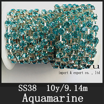 Sewing Accessories 10 Yards 38ss 8.0-8.2mm Aquamarine Silver Base Strass Rhinestone Chain
