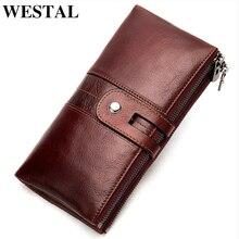 Westal 100% carteira feminina de couro genuíno feminino embreagem longa carteira das mulheres carteiras e bolsas portomonee dinheiro bolsa moeda