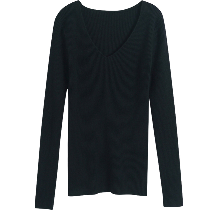 Sueter Mujeres V neck Sweater Women 39 s Tops Winter Korean Slim Tight Knit Pullover Black White Female Sweater Pull femme 2018 in Pullovers from Women 39 s Clothing