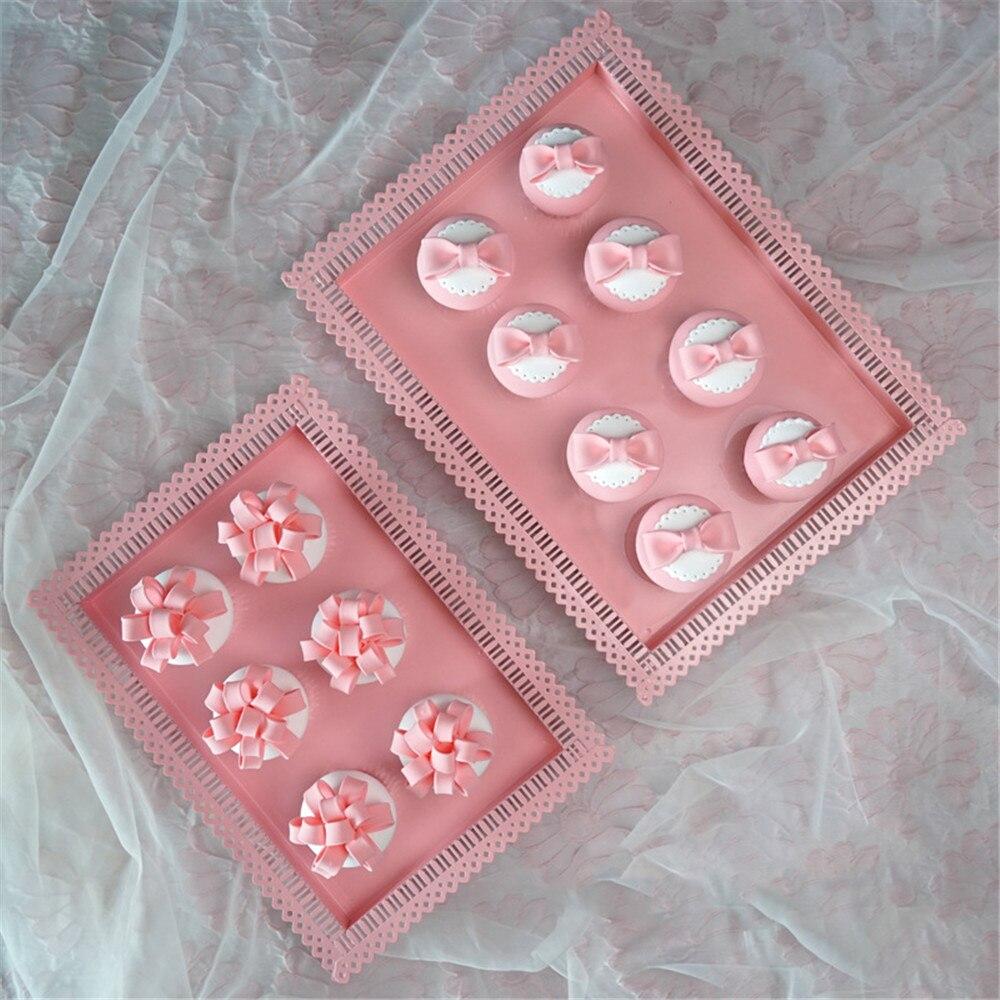 Nordique dentelle creux métal plateau de rangement élégant Chic Ins fruits gâteau Dessert plaque bonbons rose bijoux affichage plateau maison bureau décor