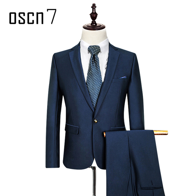 OSCN7 Solid Bright Navy Blue Suit Men Slim Fit Leisure Terno ...