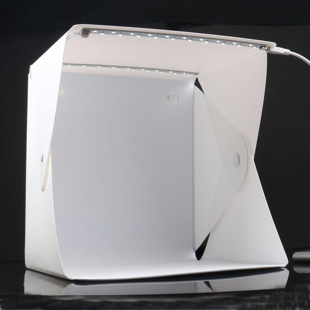 Mise à niveau 2 LED Portable Pliant Lightbox Photographie Studio Softbox DSLR Caméra Photo Fond Lumière Soft Box