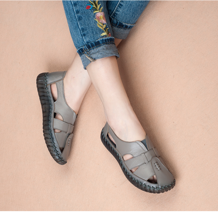 women summer shoes soft leather comfort sandals women female handmade 2018 fshion flat women sandals big size 35-43 A568 2