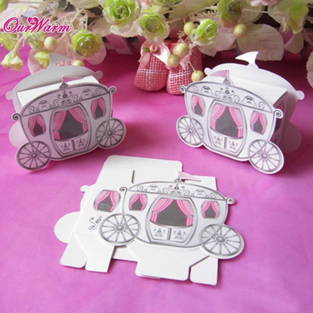 100pcs/lot Cinderella Carriage Pumpkin Coach Gift Box Wedding Party  Invitations Favors Box Candy Gift
