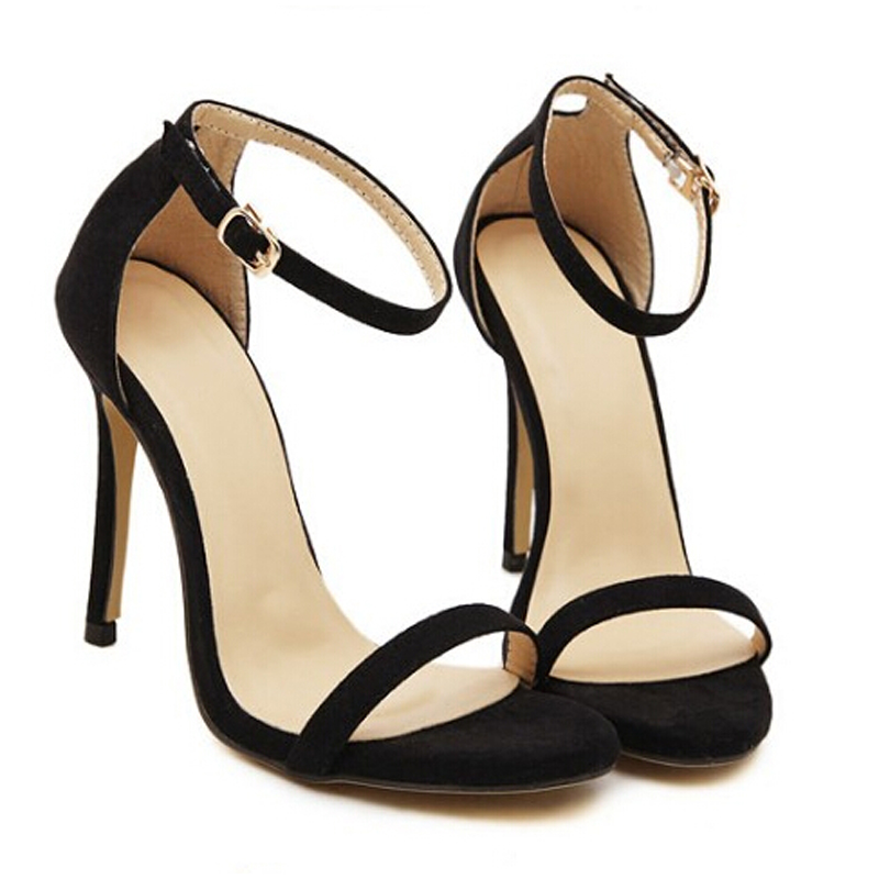 2017 wedding sandals high heels pumps summer T-stage sexy wedding shoes for party sandals Peep toe Buckle trap enmayer extreme high heels flock round toe buckle platform black shoes sandals hot fashion summer women pumps for party wedding