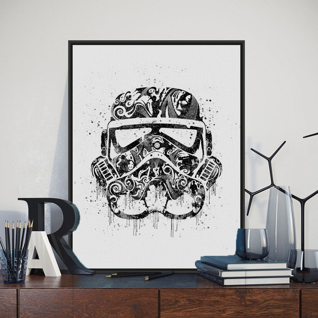 Stromtrooper Watercolor Star War Movie Poster Original A4 Print Abstract No Frame