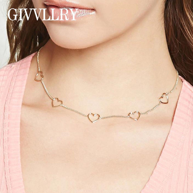 f17b9d7515 GIVVLLRY Hollow Heart Collar Chain Necklace Fashion Jewelry Minimalist Gold  Silver Color Vintage Chain Choker Necklace for Women