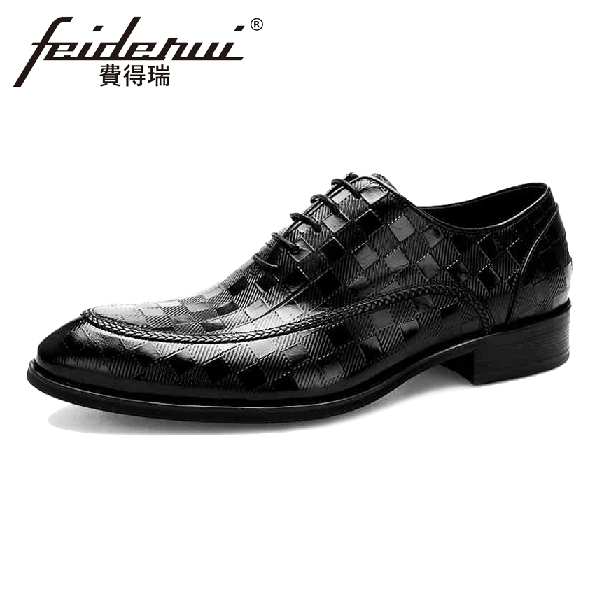 New Arrivla Genuine Leather Mens Plaid Oxfords Formal Dress Male Round Toe Wedding Flats Luxury Designer Shoes For Man BQL29