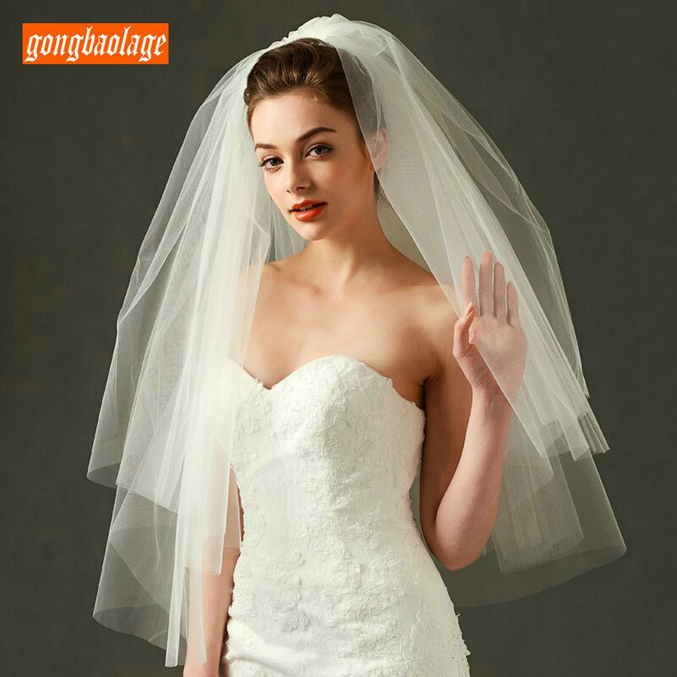 Elegant White Veiling Two Layers Veils Soft Tulle Short Bride Veil Ivory 75cm Long Veil For Wedding Accessories 2019 With Comb