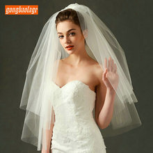 Bride Veil Wedding-Accessories Ivory Short Comb Tulle White Soft Two-Layer for with 75cm