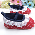 Cute Kids Infant Toddler Shoes Red Dot Lace Trim Stitching Baby Shoe Soft and Comfortable