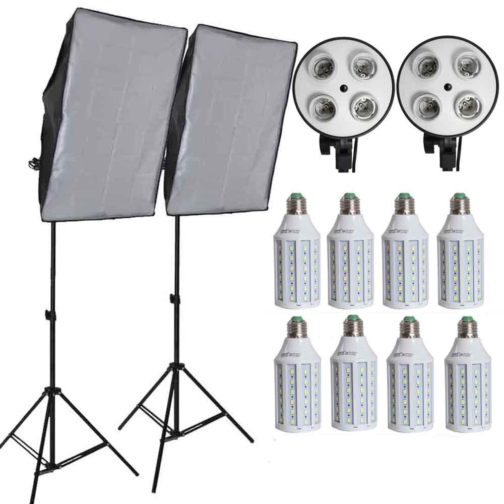8 pcs Led Ampoules Professionnel Caméra Softbox kit Avec La Lumière Se Équipement Photographique Pour DSLR Photographie Studio Lightbox