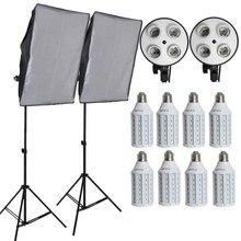 8 шт. светодио дный луковицы профессиональная Камера Softbox Комплект с легкой подставкой фототехника для DSLR фотографии Studio Lightbox