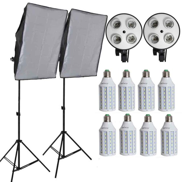 8pcs Led Bulbs Professional Camera Softbox kit With Light Stand Photographic Equipment For DSLR Photography Studio Lightbox