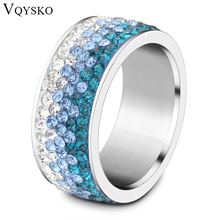 6 7 8 9 different Color Line Crystal Fashion Jewelry Ring Wholesale Fashion Stainless Steel Ring