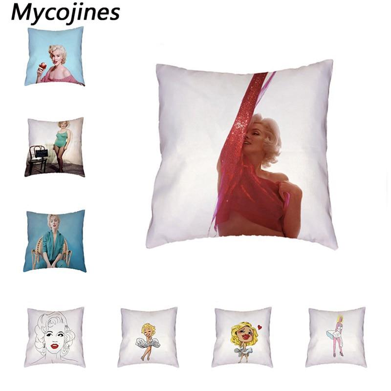 Us 199 40 Offmarilyn Monroe White Cushion Cover Anime Girl Love Home Bedroom Sofa Living Room Decor Print Polyester Peach Skin Pillow Cases In