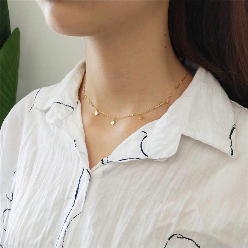 Inzatt Nyata 925 Sterling Silver Minimalis Geometris Terang Disc Kalung Kalung untuk Fashion Wanita BoHo Perhiasan Bohemia Hadiah