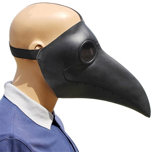 Plague Doctor Cosplay Costumes Steampunk Bird Mask Costume Fancy Dress Latex Masks Halloween Party 5