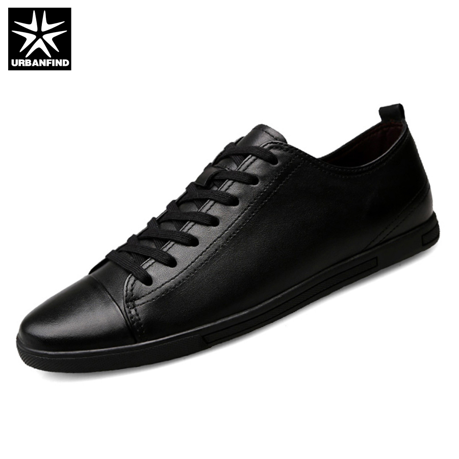 URBANFIND Genuine Leather Men Shoes Black / White Footwear Plus Size 39-47 High Quality Man Lace-up Casual Flats 45 46 47 northmarch high quality men white leather shoes high top men s casual shoes breathable man lace up brand shoes