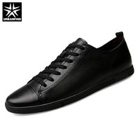 URBANFIND Basic Style Men Leather Casual Shoes Black White Size 39 47 Solid Color Man Lace